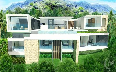 C View - Bangrak Bay - Ko Samui - 2 villas modernes avec une vue magnifique sur la mer